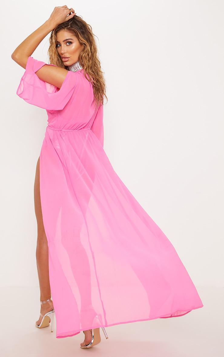 Premium Pink Jewelled Plunge Maxi Kimono 3
