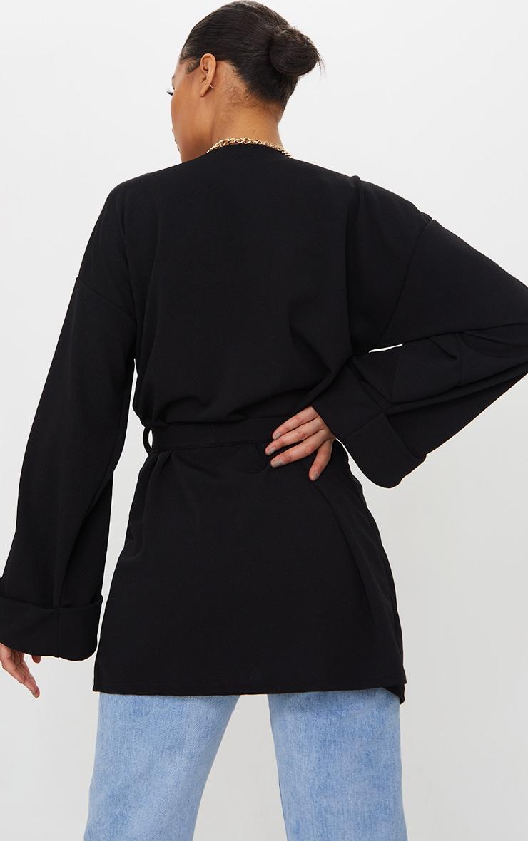Black Belted Oversized Sleeve Blazer 2