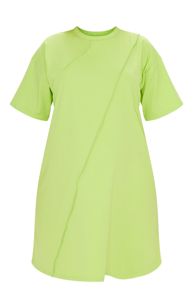 Maternity Lime Washed Lime Oversized Seam Detail T-Shirt Dress 5