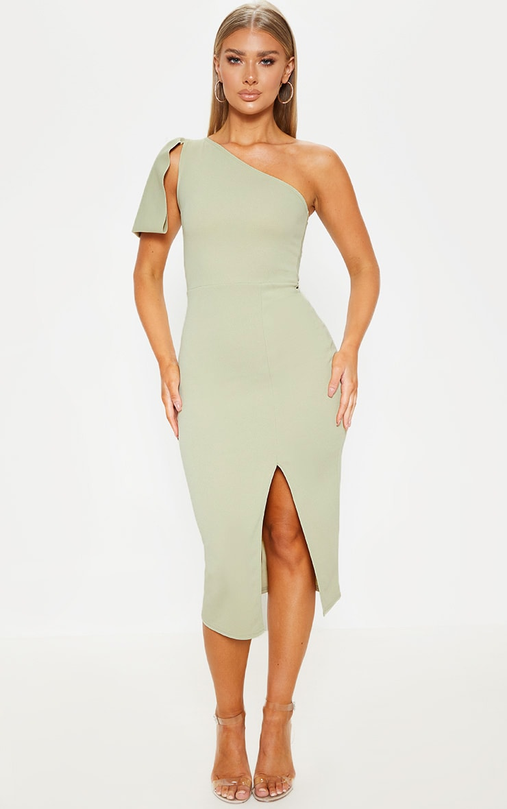 Sage Green One Shoulder Bow Detail Midi Dress 1