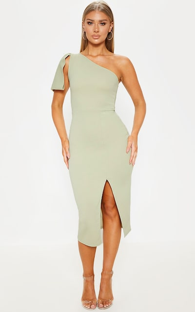 Sage Green One Shoulder Bow Detail Midi Dress