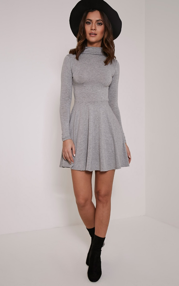 Basic Grey Marl High Neck Skater Dress 1