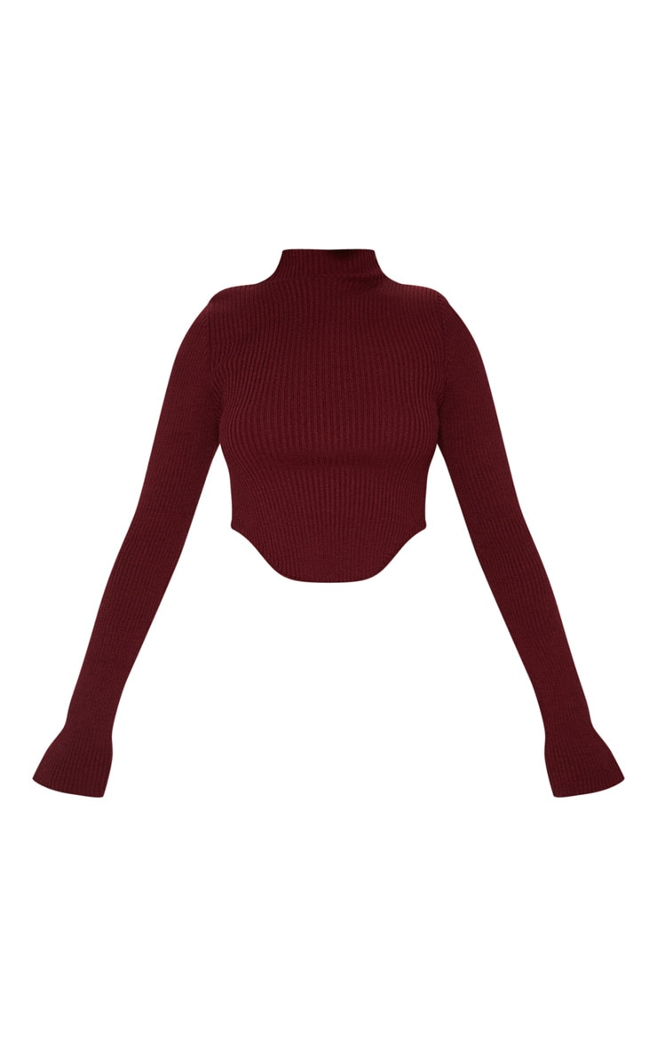 Petite Burgundy High Neck Curve Hem Sweater 3
