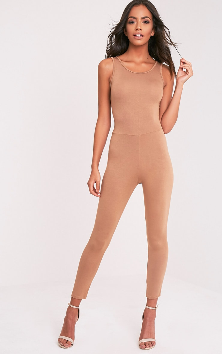 Katie Camel Scoop Back Fitted Cropped Leg Jumpsuit 1