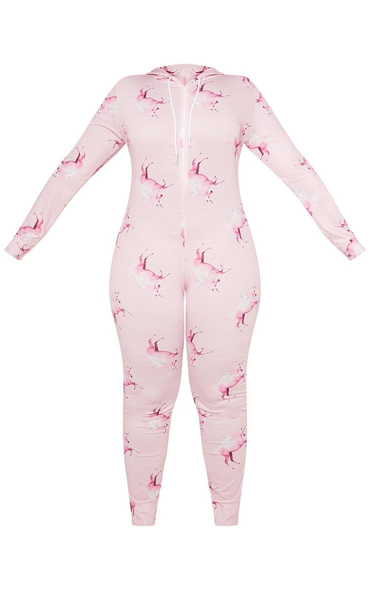PRETTYLITTLETHING Plus Unicorn Print Pink Onesie 3