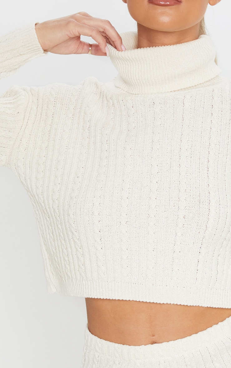 Cream Roll Neck Cable Knit Cropped Sweater 5
