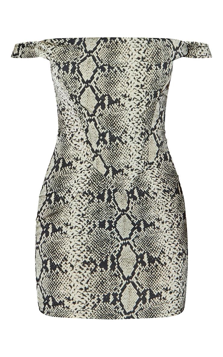 Brown Woven Snake Print Bardot Bodycon Dress 5