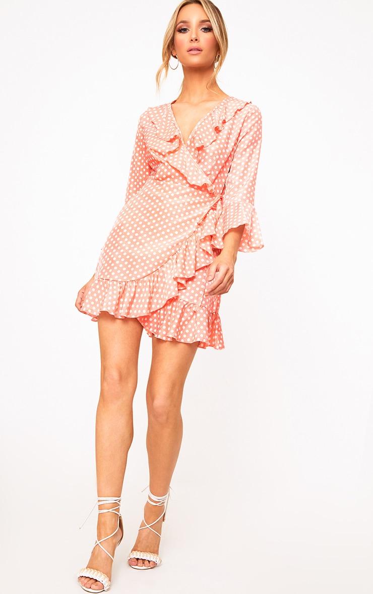 Pink Polkadot Frill Wrap Dress  4