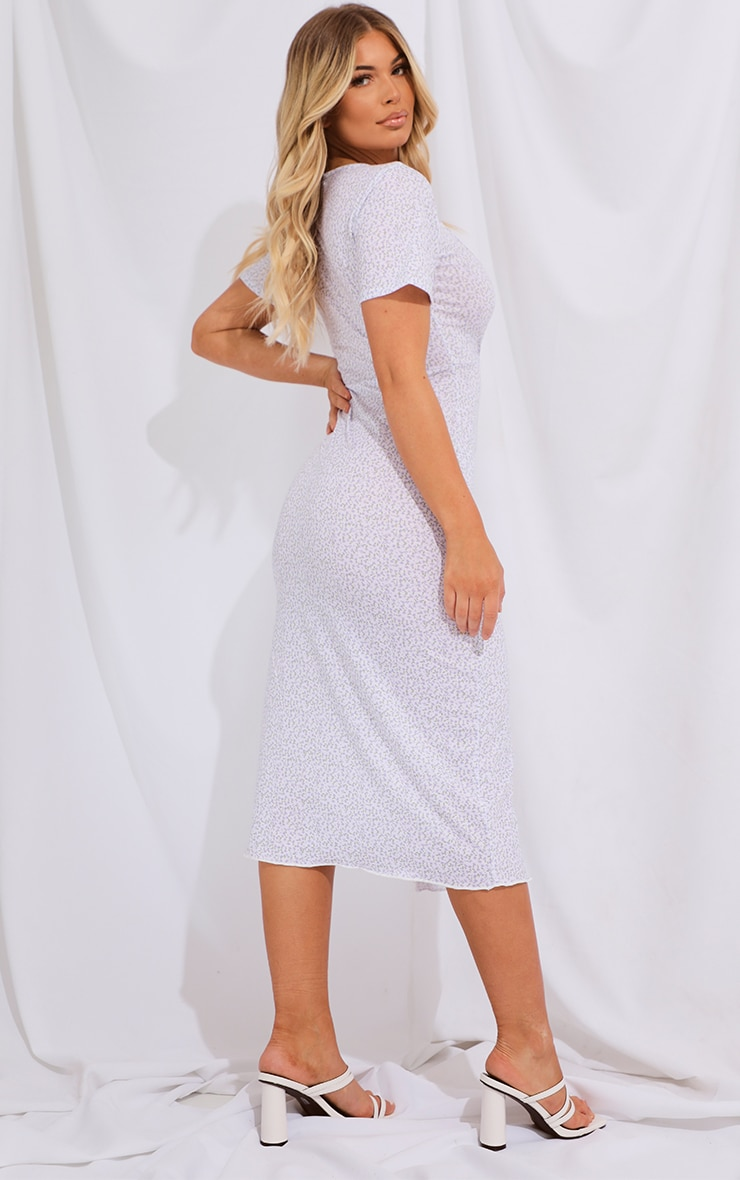 Blue Ditsy Print Split Lettuce Hem Midi Dress 2