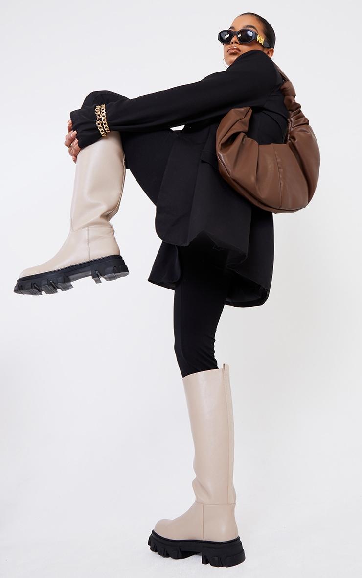 Chocolate Large Ruched Shoulder Bag 1