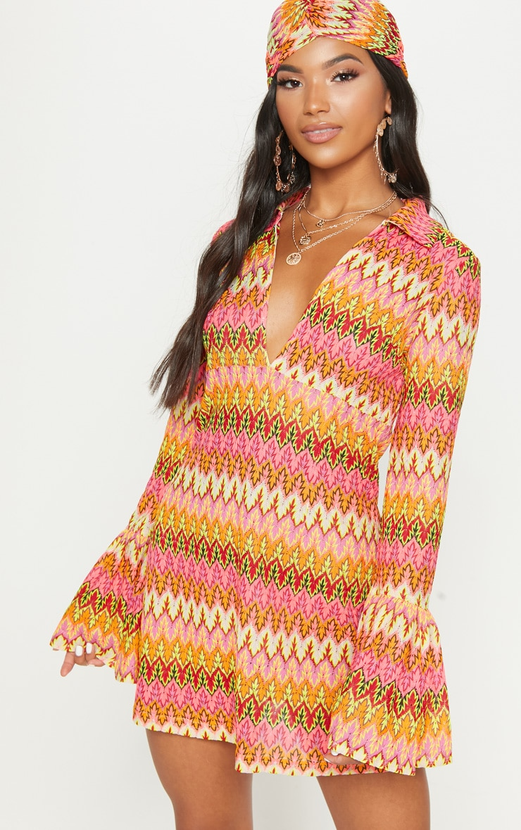Multi Chevron Flare Sleeve Shift Dress