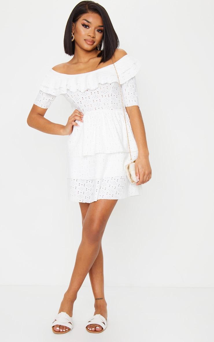 Petite Cream Frill Mini Dress 3
