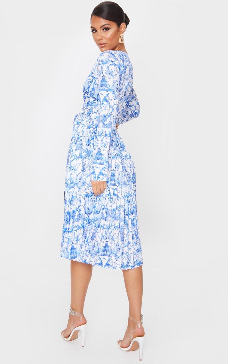 Blue Porcelain Print Long Sleeve Pleated Midi Dress 2
