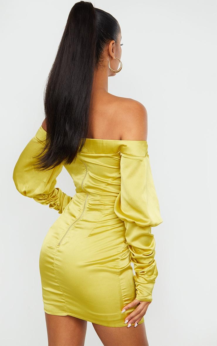 Chartreuse Satin Bardot V Bar Ruched Sleeve Bodycon Dress 2