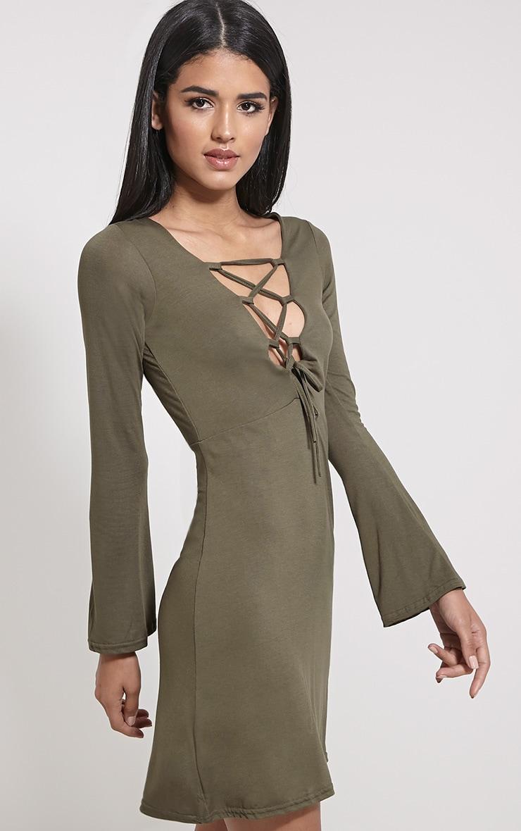 Remilda Khaki Lace Up Jersey Dress 4