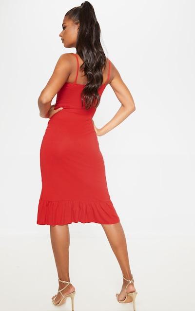 Red Frill Detail Midi Dress