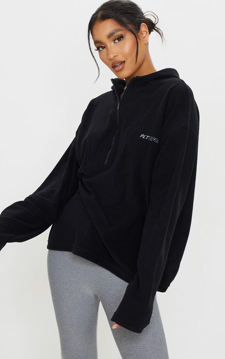 PRETTYLITTLETHING Black Half Zip Hooded Fleece 1