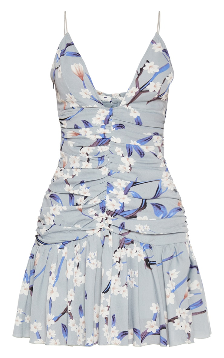 Dusty Blue Floral Print Ruched Detail Frill Hem Bodycon Dress 3