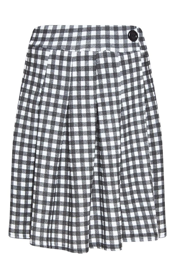 Black Gingham Check Tennis Side Split Skirt 3