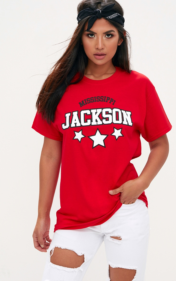 Jackson Slogan Red Oversized T Shirt 1