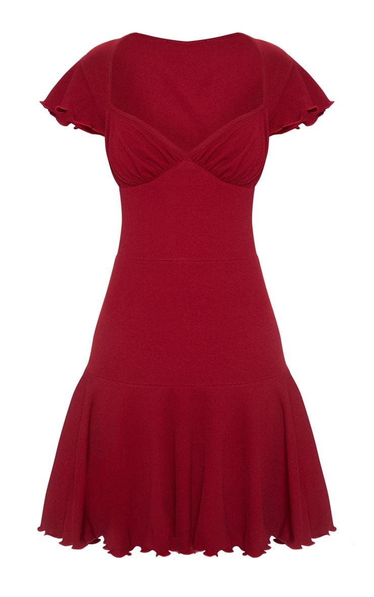 Burgundy Frill Hem Cap Sleeve Skater Dress 3