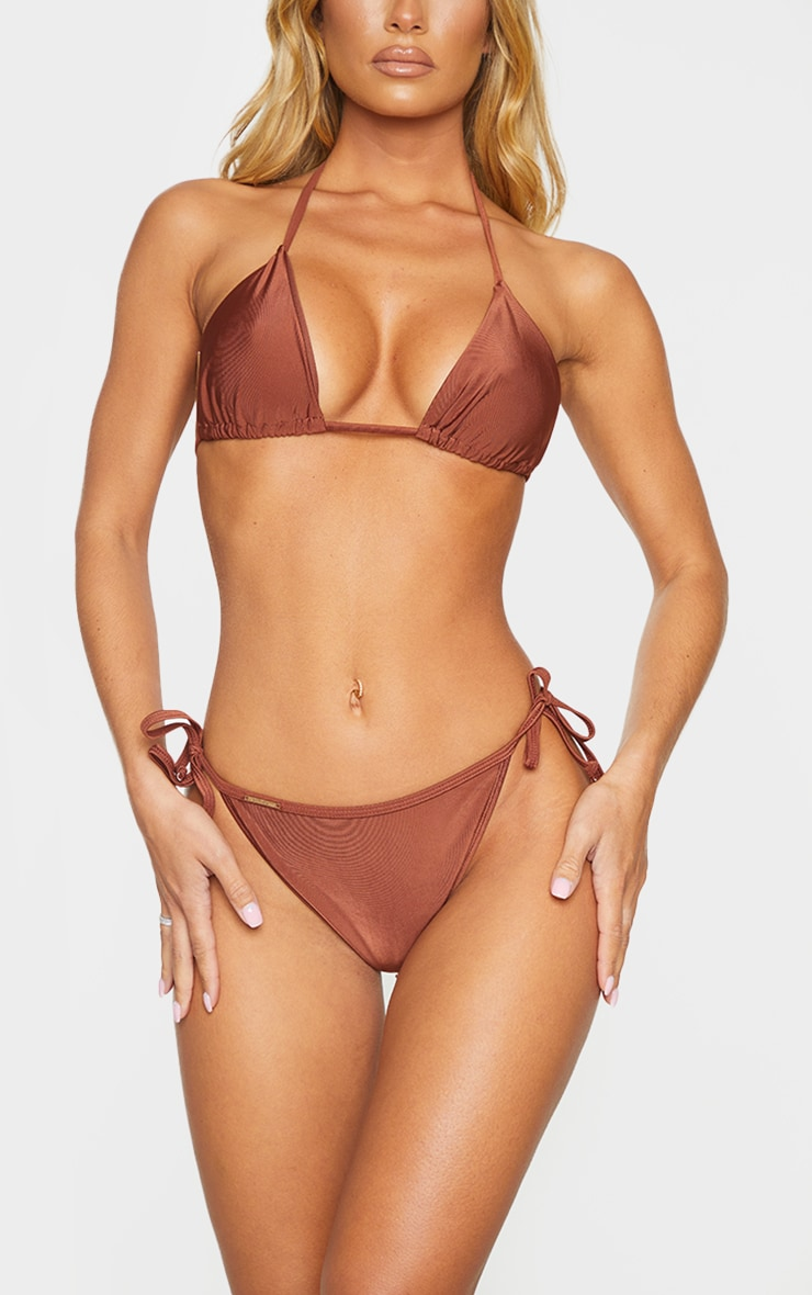 Deep Brown Mix & Match Tie Side Bikini Bottom 1