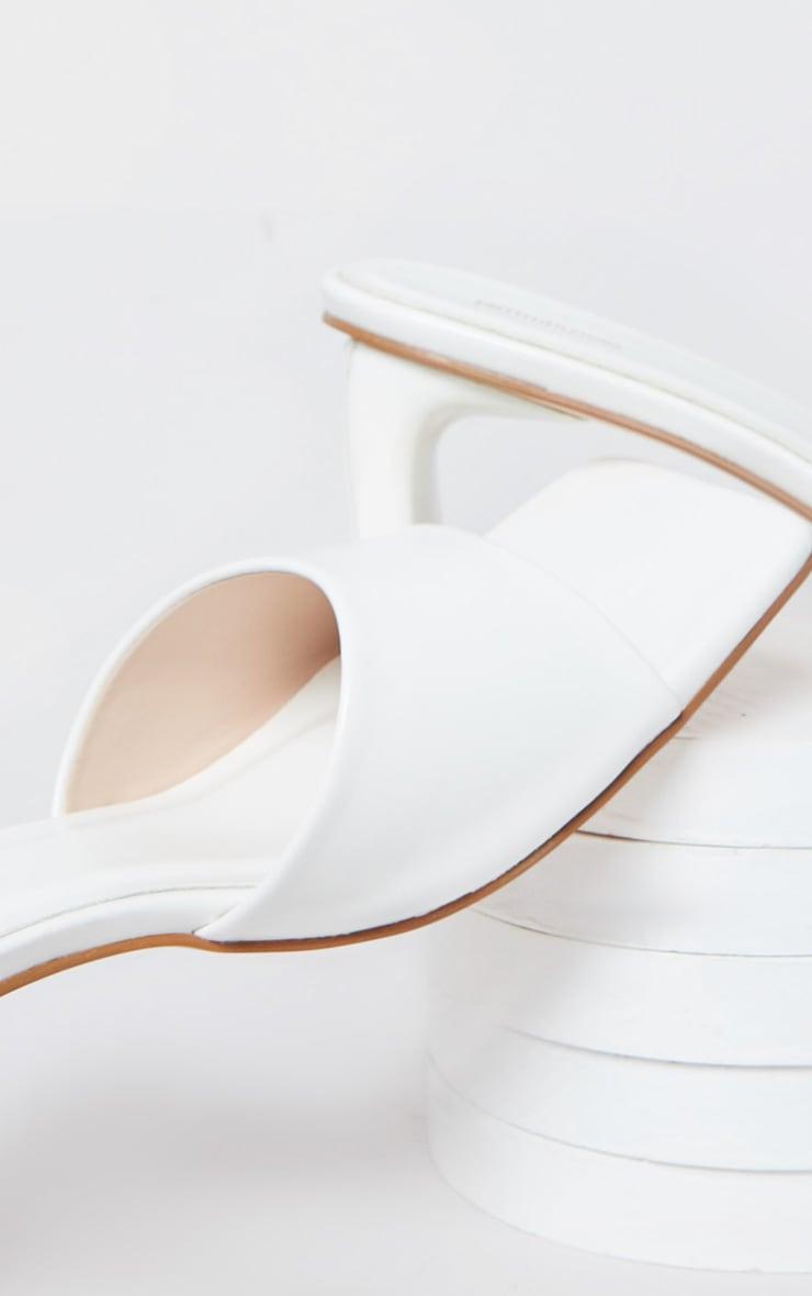 White Curved Mini Heel Square Toe Mules 3