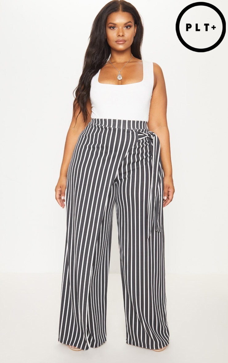 Plus Black Striped Wrap Detail Extreme Wide Leg Pants 1