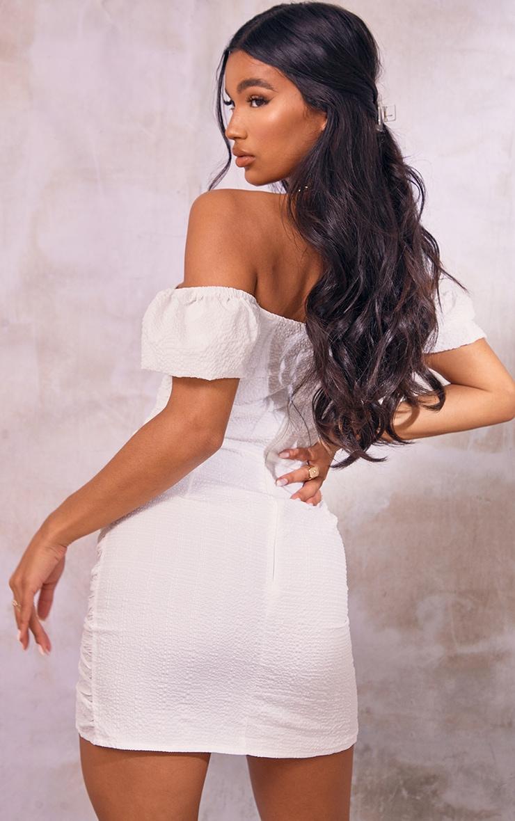 White Textured Corset Detail Bodycon Dress 2
