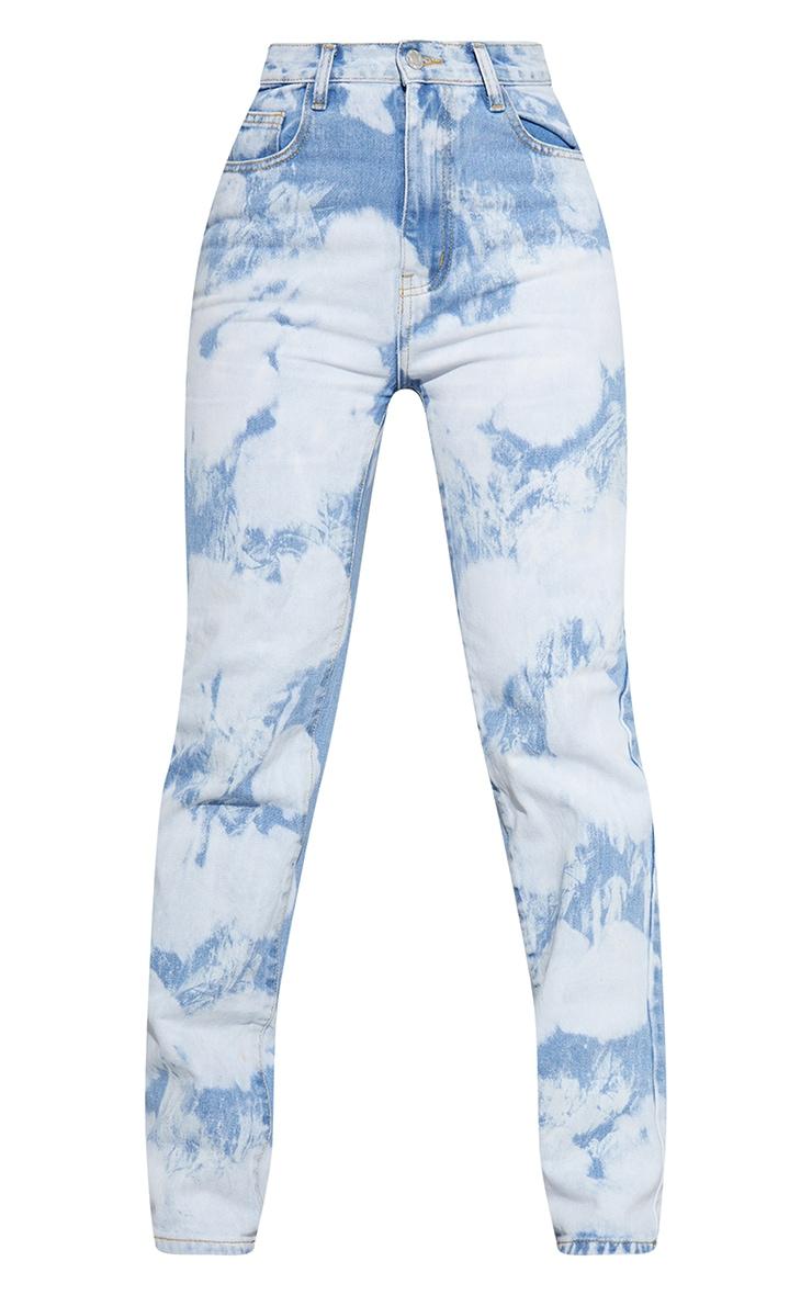 Jean droit long bleu imprimé nuage 5
