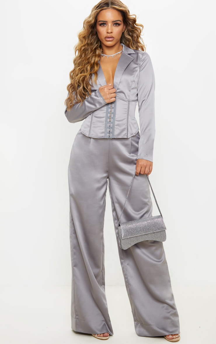 Petite Grey Satin Wide Leg Pants  1