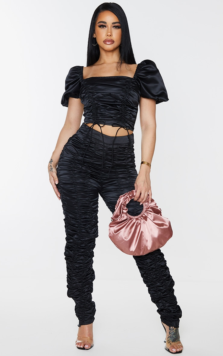 Shape Black Satin Extreme Ruched Puff Sleeve Crop Top 3