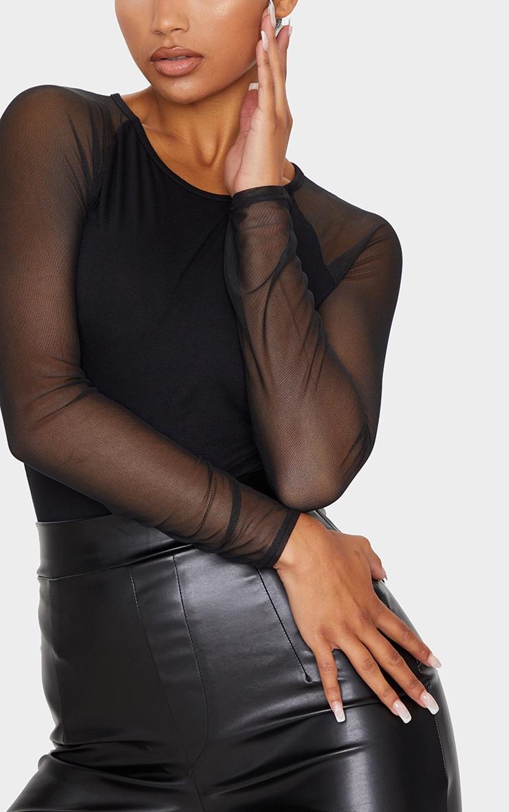 Black Crew Neck Mesh Long Sleeve Bodysuit 4