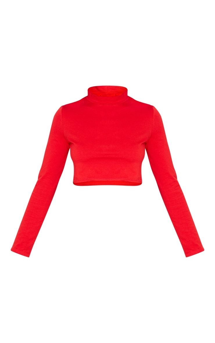 Red High Neck Long Sleeve Crop Top 5