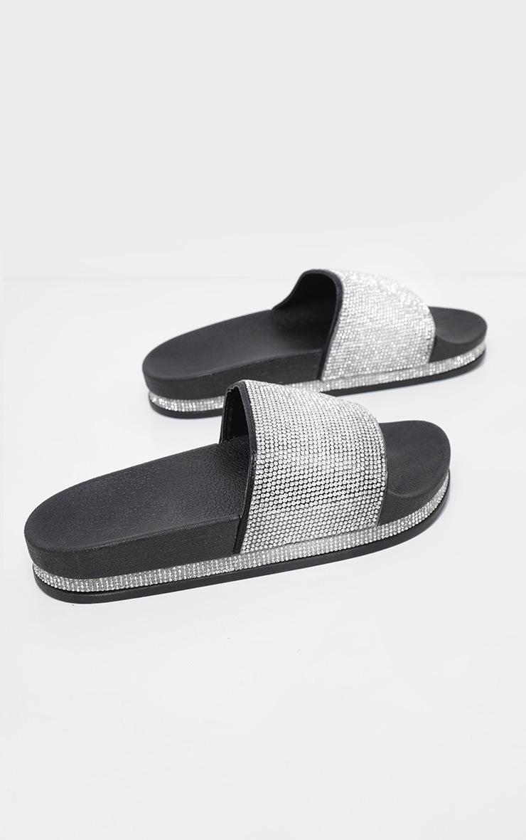 Black Diamante Embellished Slides 3