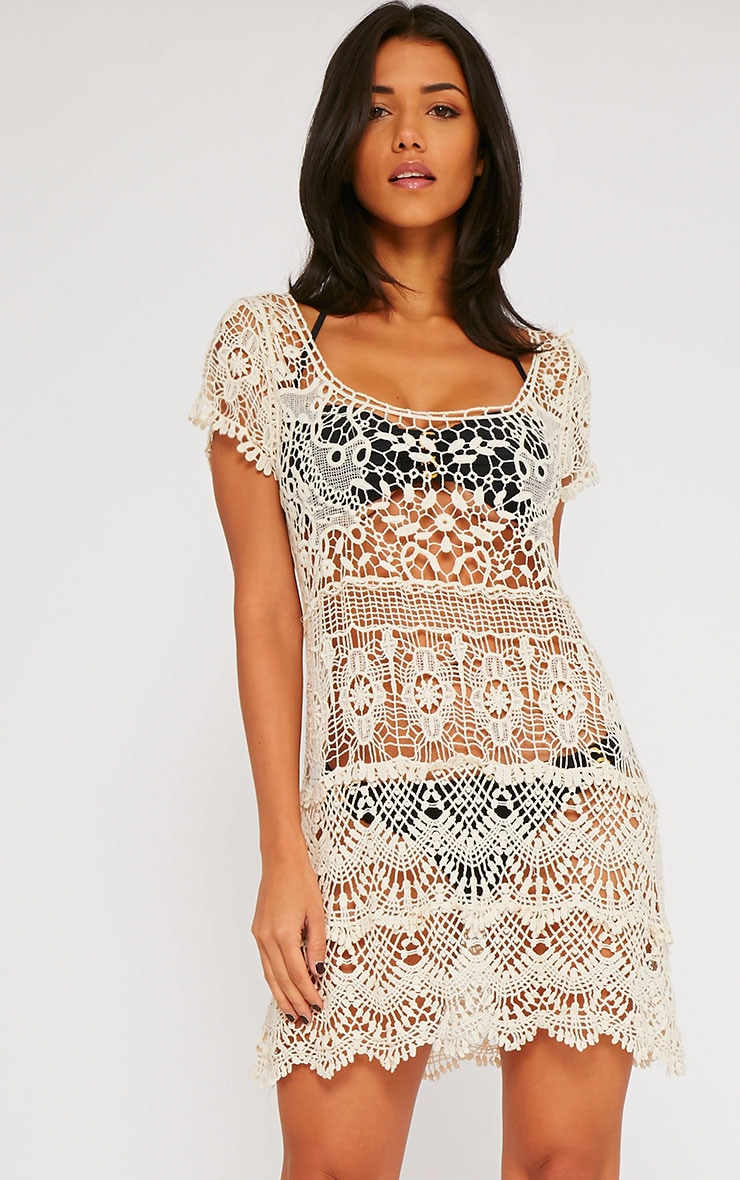 Raif Beige Crochet Dress 1