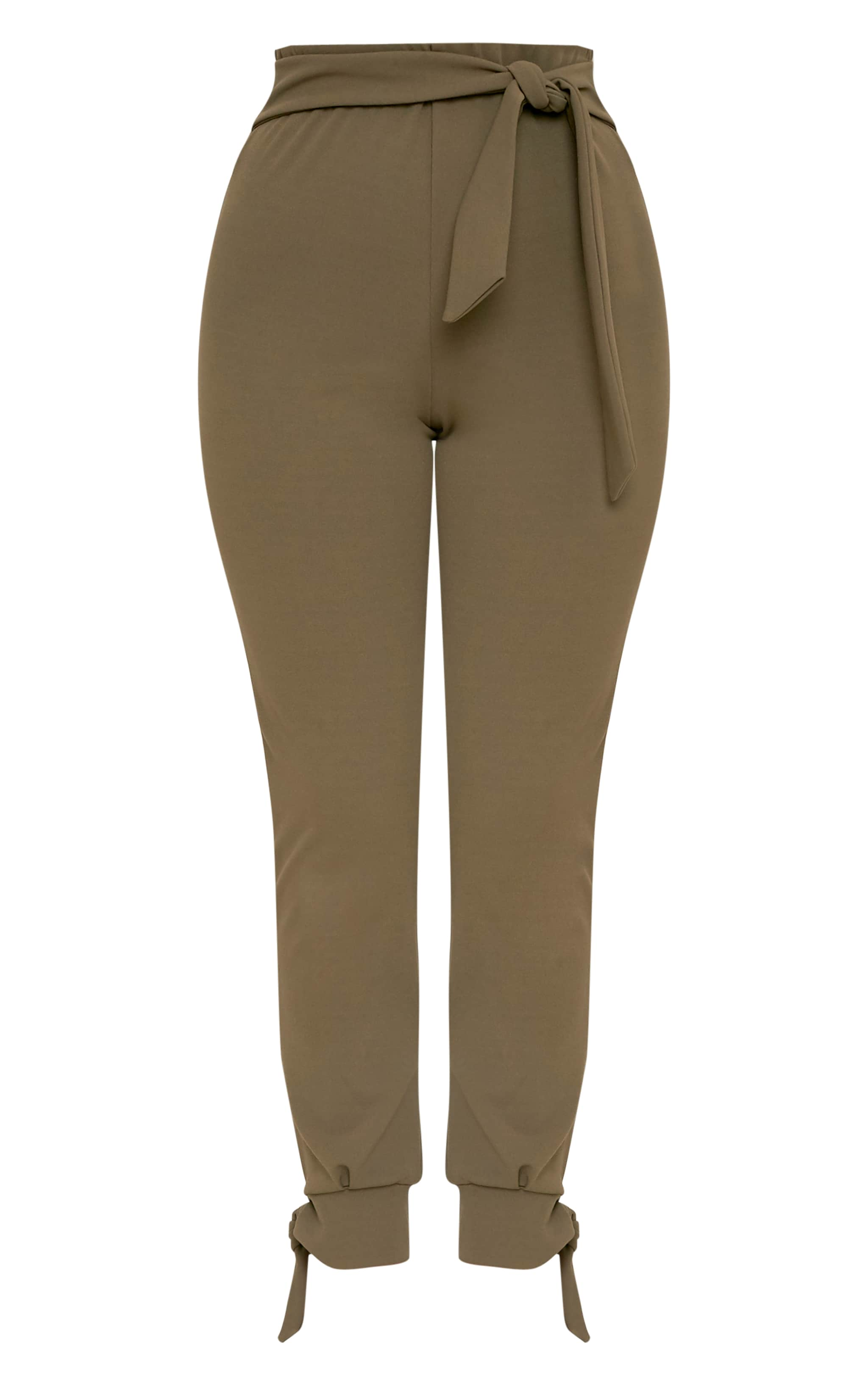 Detta Khaki Tie Detail Fitted Trousers  3