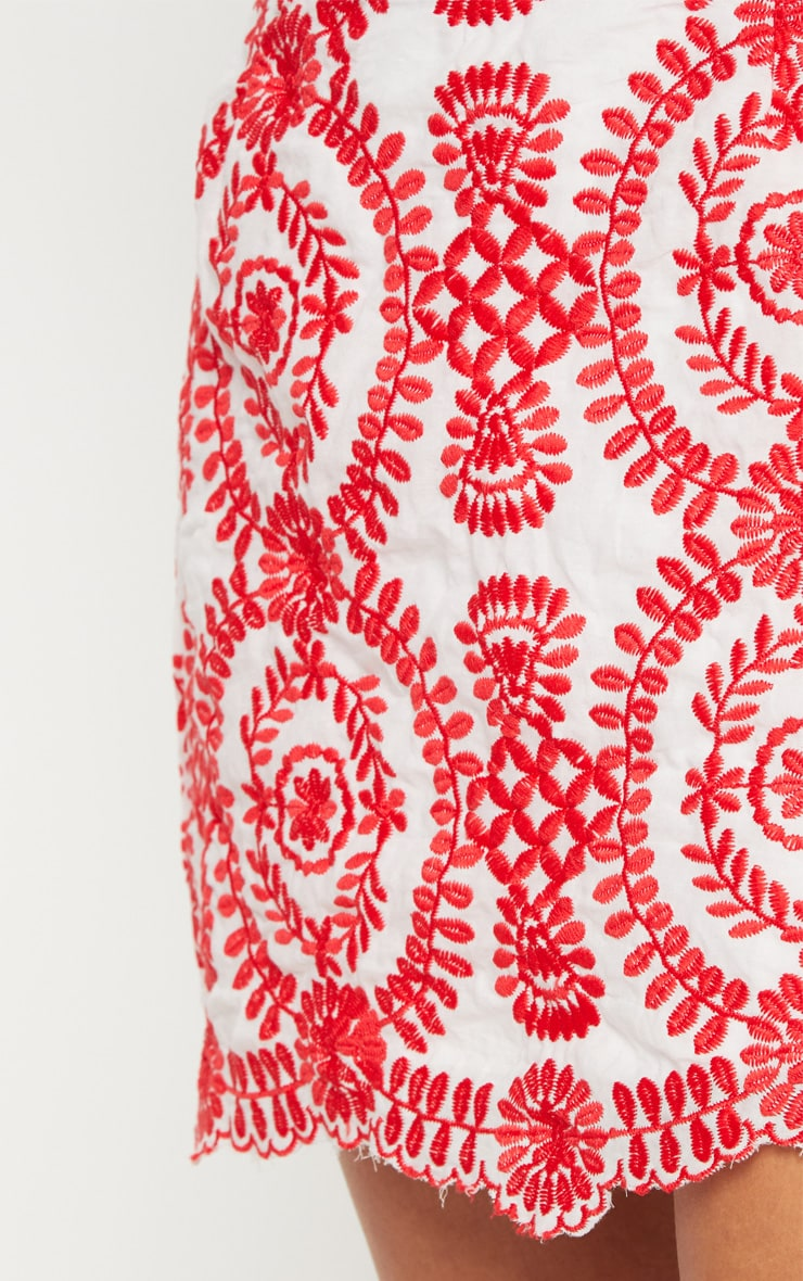 Petite Red Embroidered Mini Skirt 6