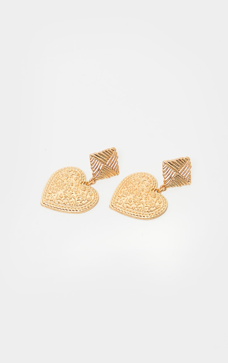 Gold Ornate Heart Drop And Textured Square Stud Earring  3