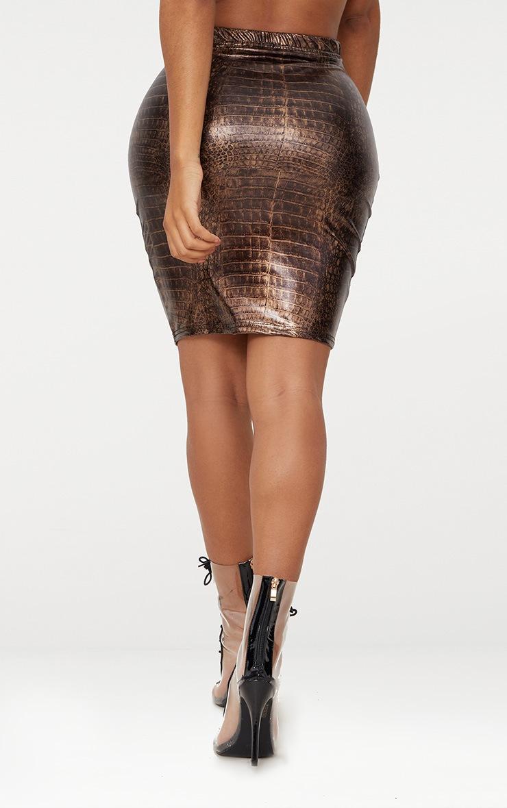 Shape Brown Snake Effect Bodycon Skirt 3