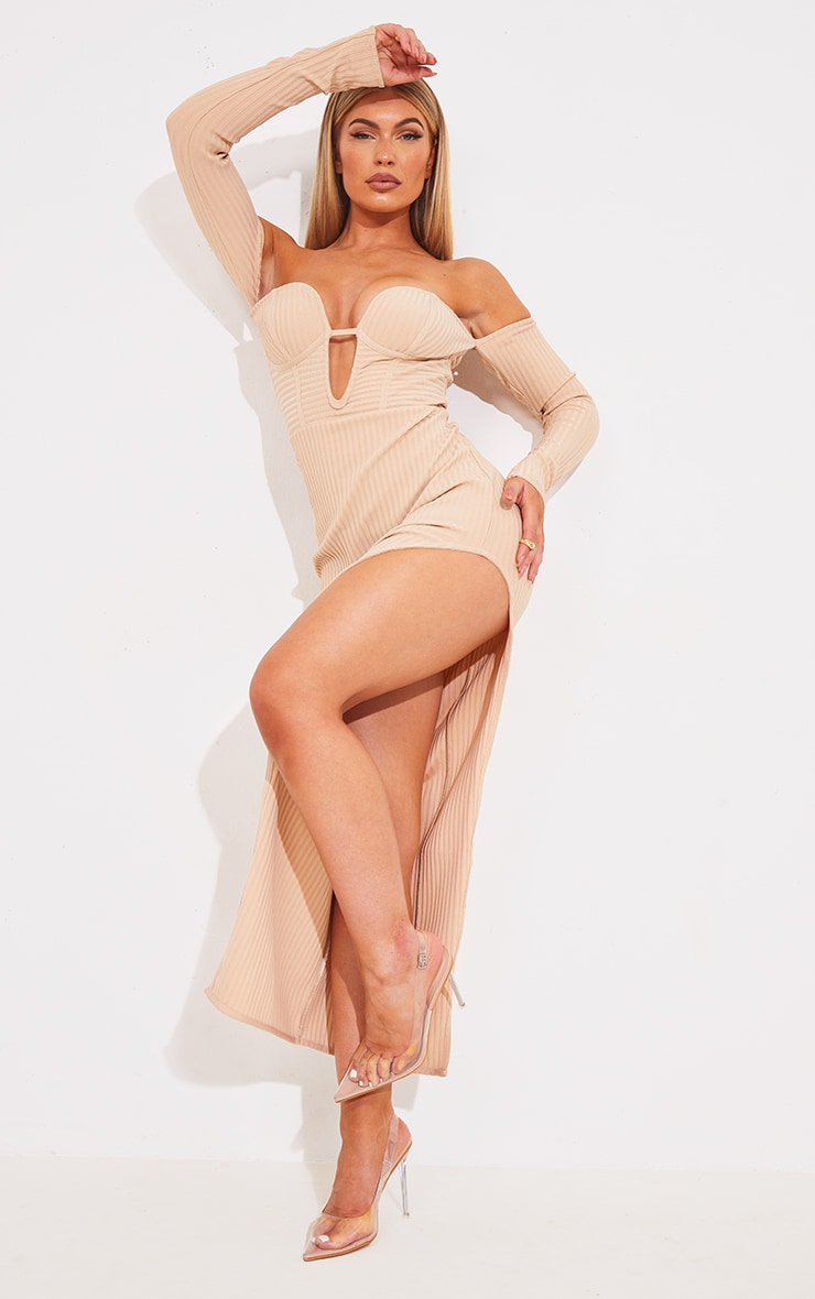 Nude Bandage Ribbed Bardot Plunge Midaxi Dress 1