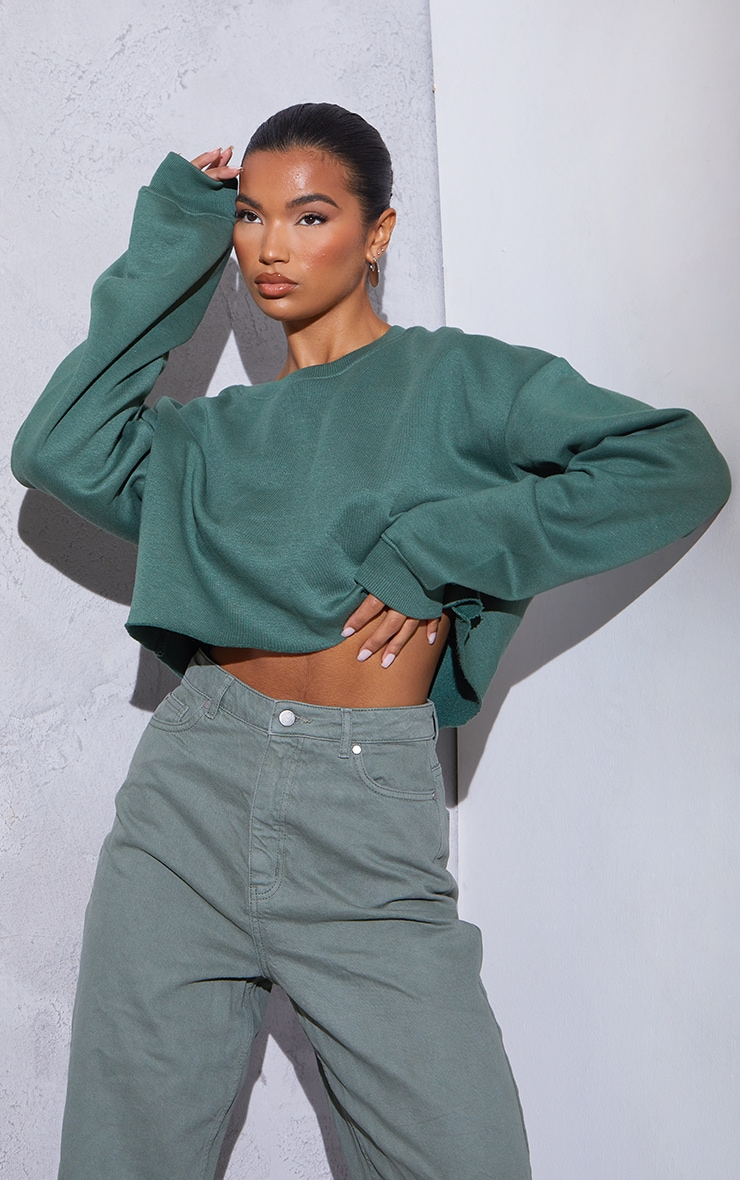 RENEW Green Oversized Crop Sweater 1