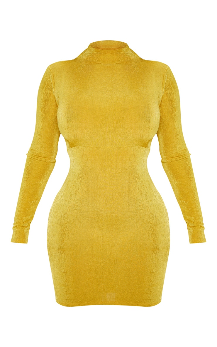 Chartreuse Textured Slinky Long Sleeve High Neck Ruched Back Bodycon Dress 3