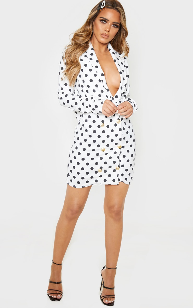 Petite White Polkadot Button Blazer Dress 4