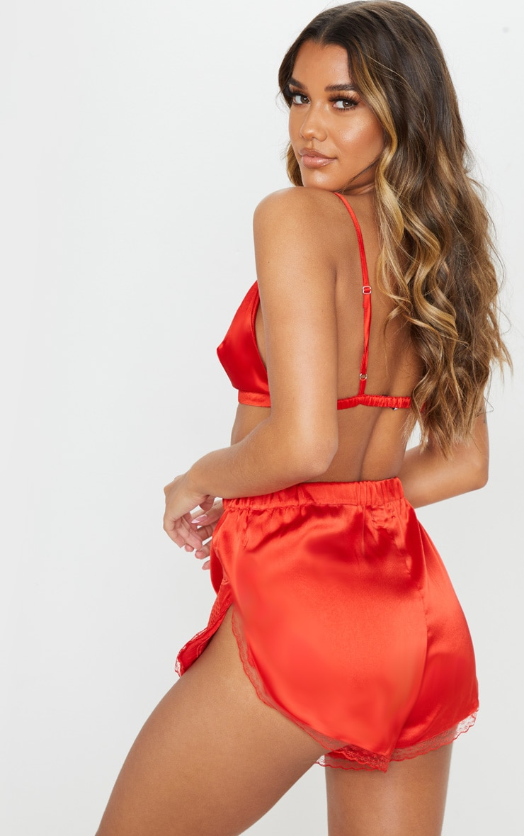 Red Lace Trim Bralet And Short Set 2