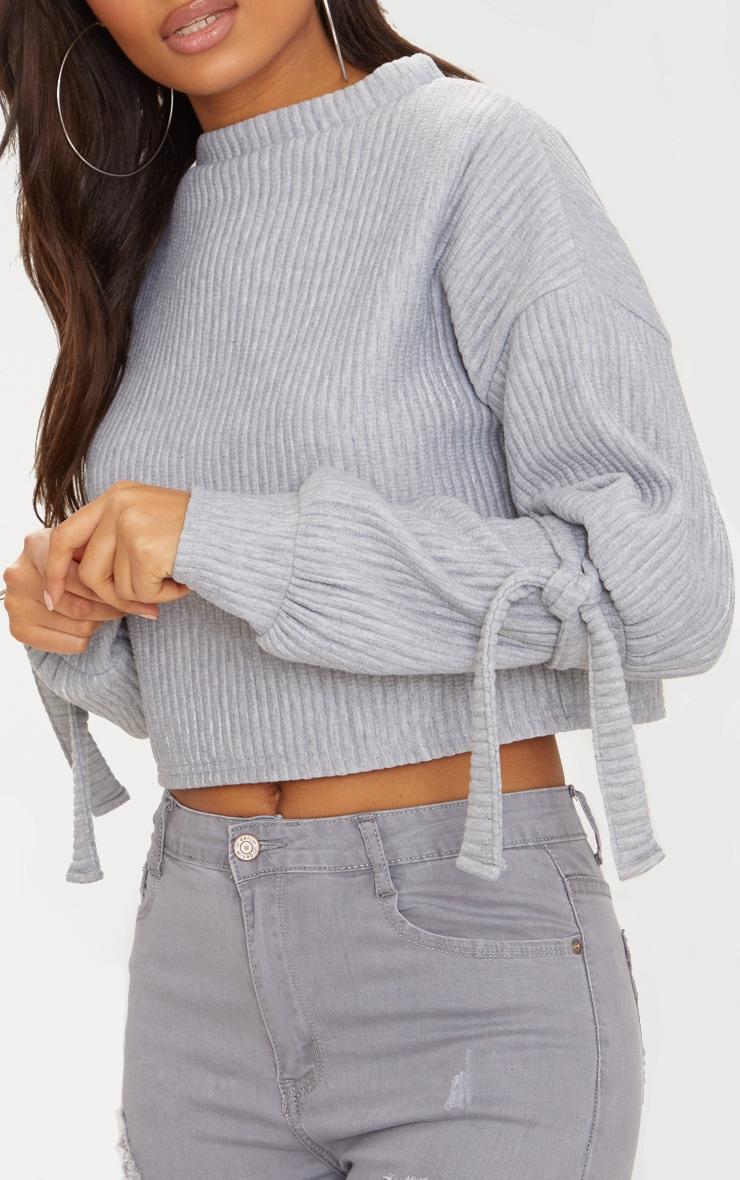 Grey Rib Cuff Detail Sweater  5