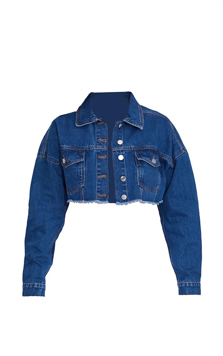 Mid Wash Raw Edge Denim Jacket 5