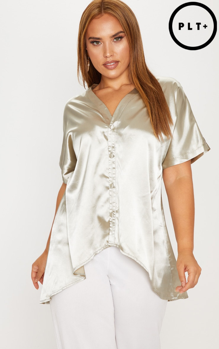 Plus Sage Green Satin Button Front Short Sleeve Shirt
