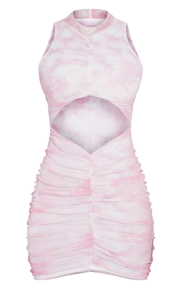 Shape Pink Tie Dye Mesh Ruched Side Bodycon Dress 5
