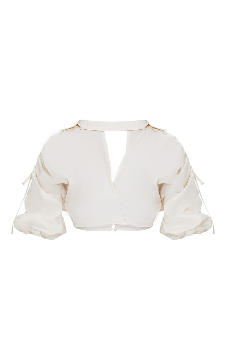 Cream Woven Plunge Ruched Sleeve Cropped Blouse 5